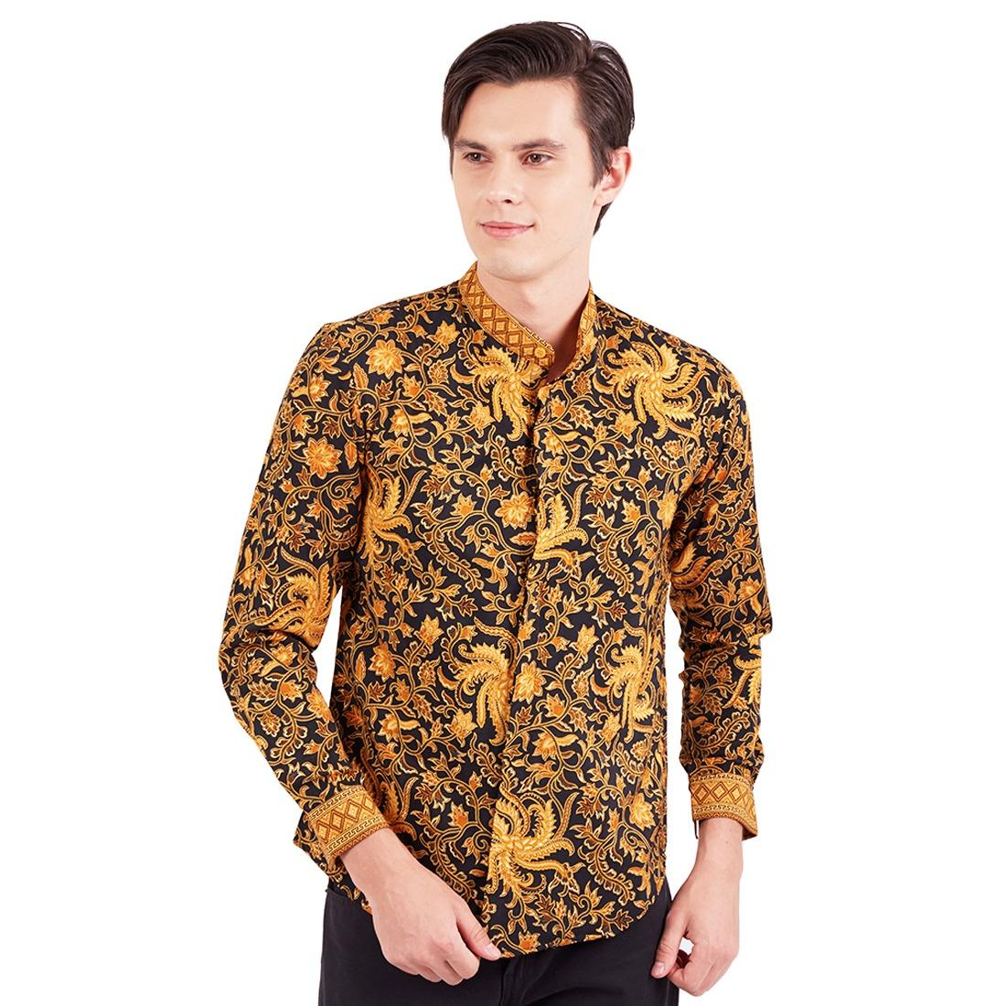 Cek Harga Baru Batik Flike Store Kemeja Lengan Panjang Shanghai Neck Pria Prada Pendek 2 Layer Mlxl Gold Feather