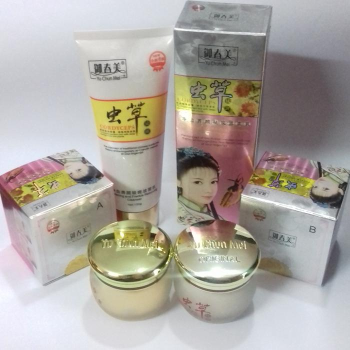 Cordyceps Yu Chun Mei Paket Cream Day and Night Plus Sabun Wajah Facial Foam Cordyseps Krim