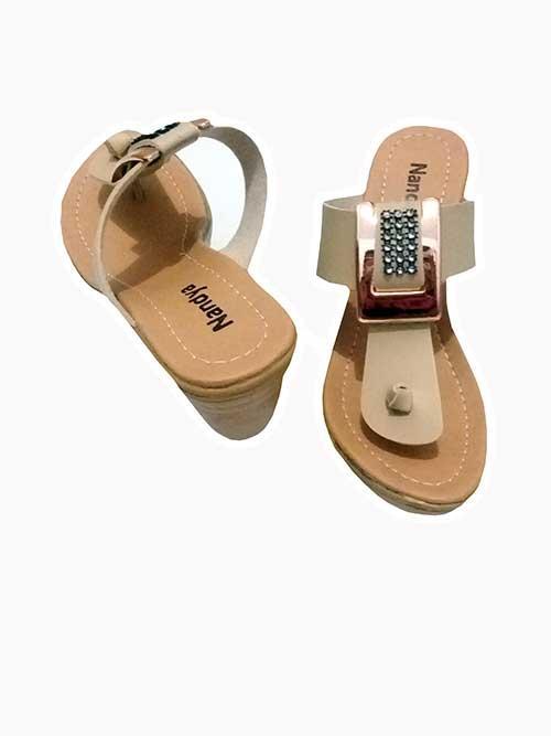 Therwan Sandal Wedges Wanita / Sendal Wedges Casual / Cream - 2