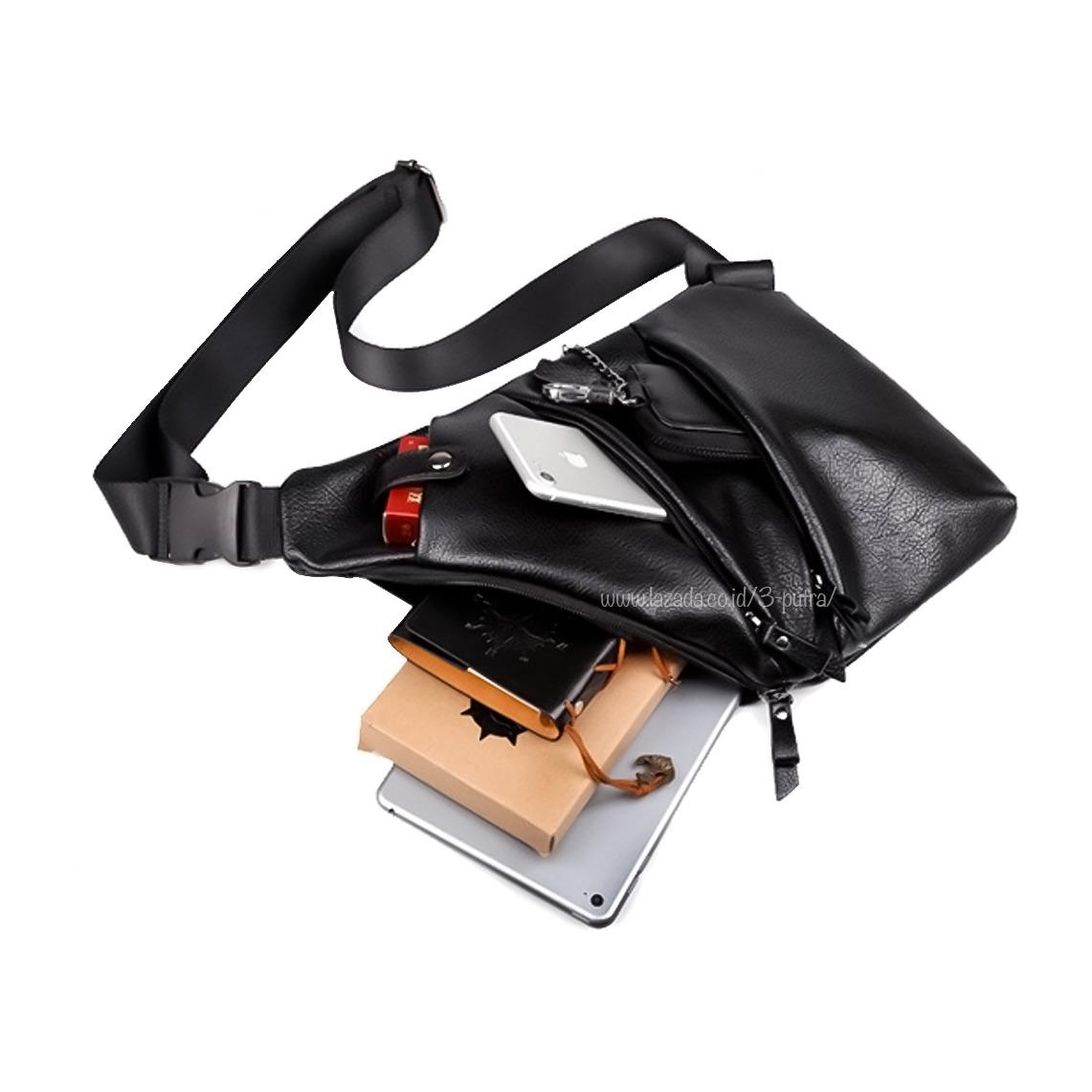 Harga Tas Slempang Anti Thief Anti Maling Import Messenger Bags Import Sling Bags Leather Tas Slempang Kulit Asli 3P Sling Leather Import Black Termahal