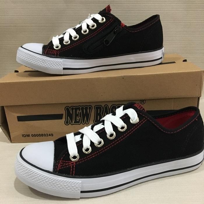 Sepatu Sekolah Sneakers Anak Merk New Basket boot Pendek untuk Cewek Cowok Hitam Putih - 3