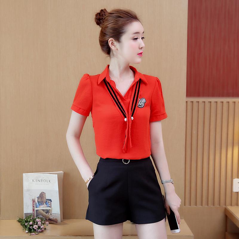 Lengan pendek netral longgar Kemeja sifon musim panas baju wanita musim model baru Gaya Korea murid