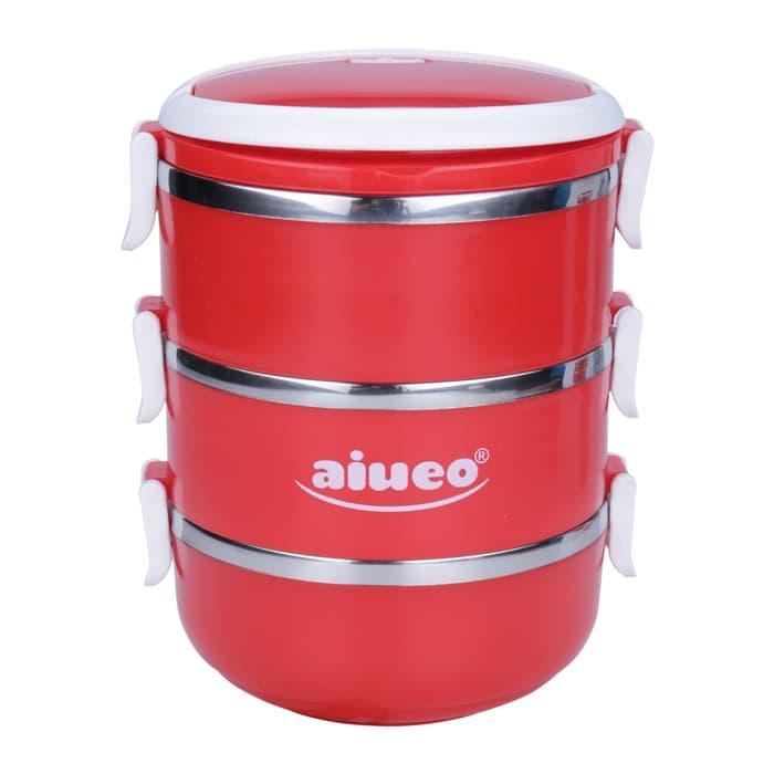 AIUEO Eco Lunch Box Stainless Steel Rantang 3 Susun Glossy - PK2mrX .