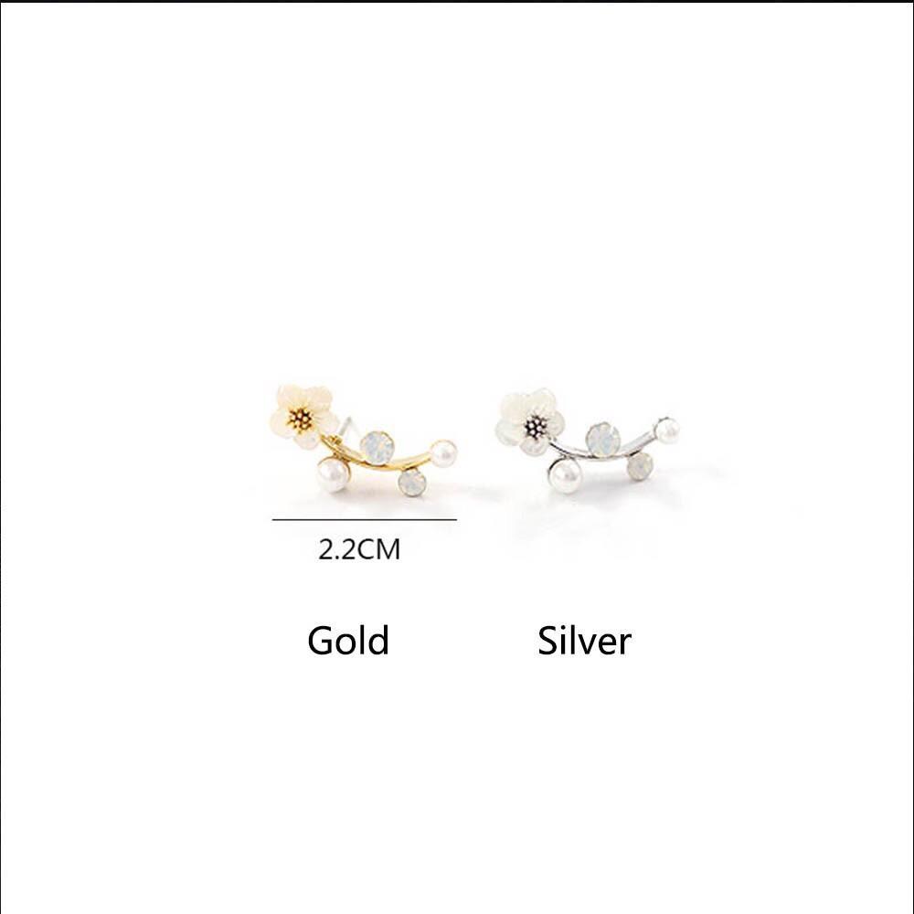 ... Cannies Anting Tusuk Wanita Elegan dengan Hiasan Kristal Berlian Imitasi Swing flower silver - 3