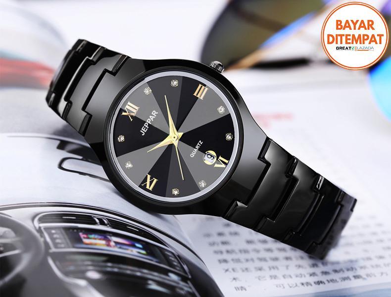 jeppar 261 jam tangan wanita analog fashion casual women strap stainless steel wrist quartz watch – hitam