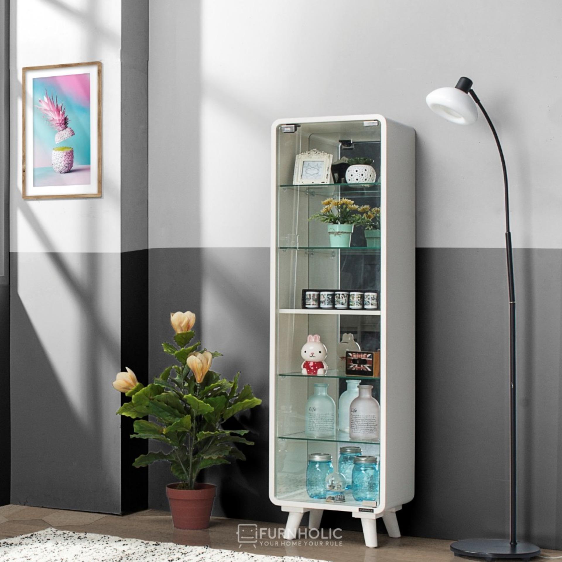 iFurnholic Maxiature Cabinet - Rak Pintu Kaca - Putih Tulang - Gratis Pengiriman Pulau Jawa dan