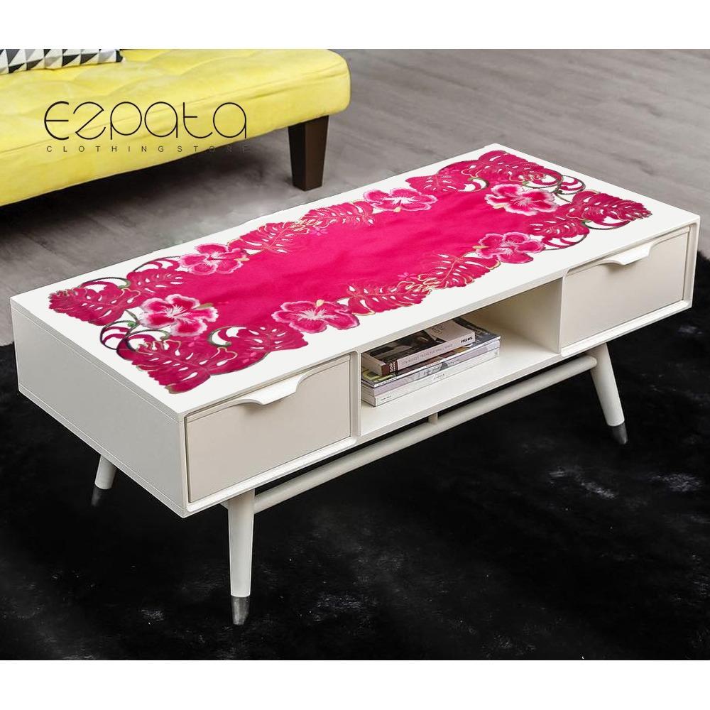 Promo Ezpata Taplak Meja Tamu Bordir Mewah Premium 98 Cm X 37 Cm Flower Pink Akhir Tahun