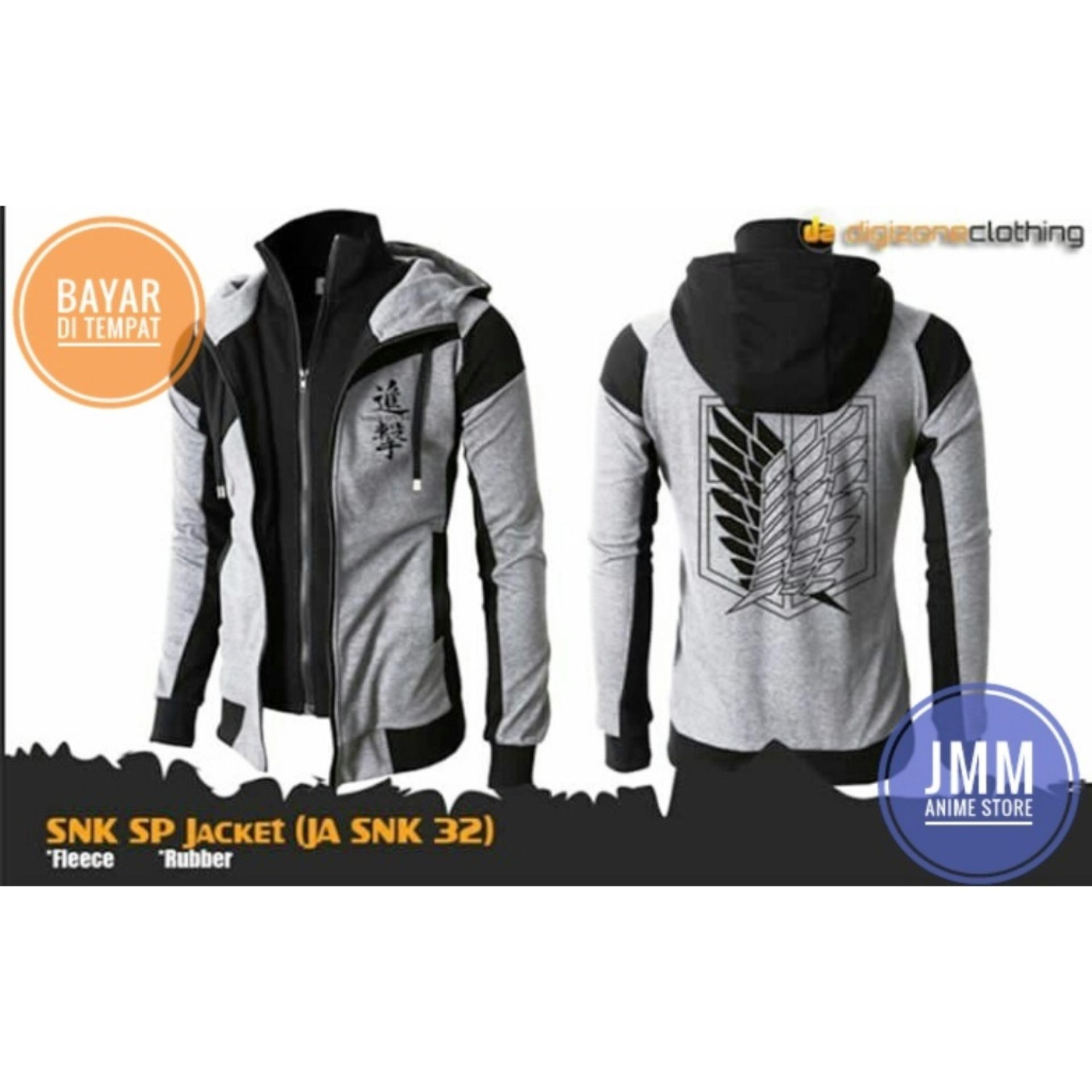 Spesifikasi Jaket Anime Attack On Titan Double Zipper Grey Black Hoodie Best Seller Murah