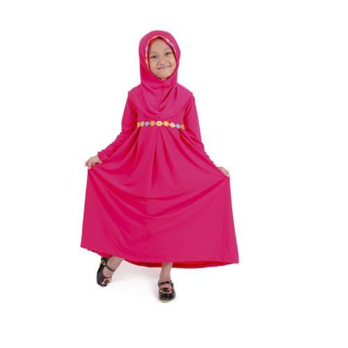 Baju Muslim Gamis Anak Perempuan Pink Lucu Simple Murah - PINK