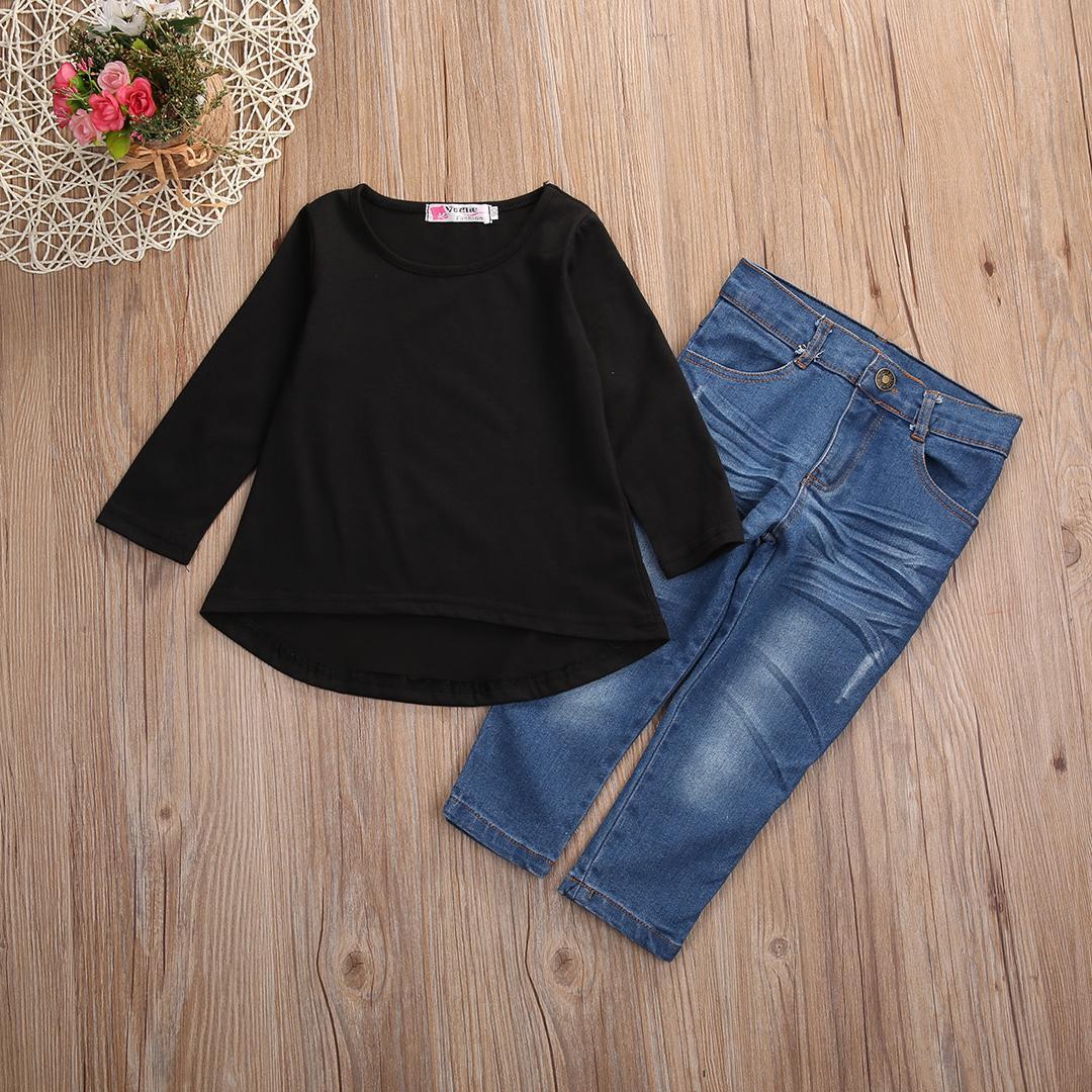 Anak-anak Bayi Perempuan Anak Hitam Terbaik Kaus + Jeans Denim Celana Pakaian Set Pakaian-Internasional - 2