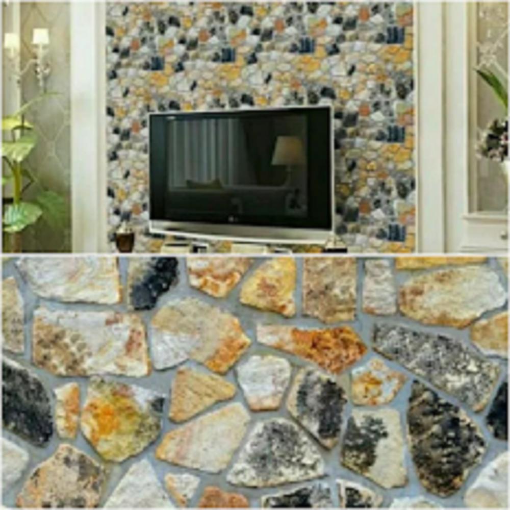 Grosir murah wallpaper sticker dinding kamar ruang indah bagus cantik elegan batu alam hitam kuning putih