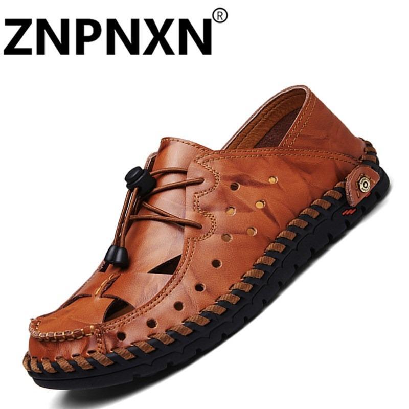 Beli Znpnxn Kaus Pria Sandal Asli Kulit Kasual Musim Panas Sepatu Pria Sandal Lembut Bawah Sandal For Pria Dark Brown Kredit