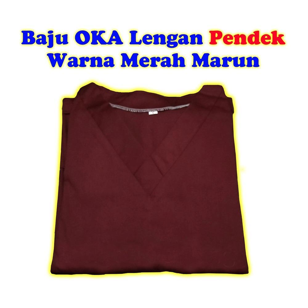Spesifikasi Baju Oka Baju Jaga Lengan Pendek Warna Merah Marun Murah