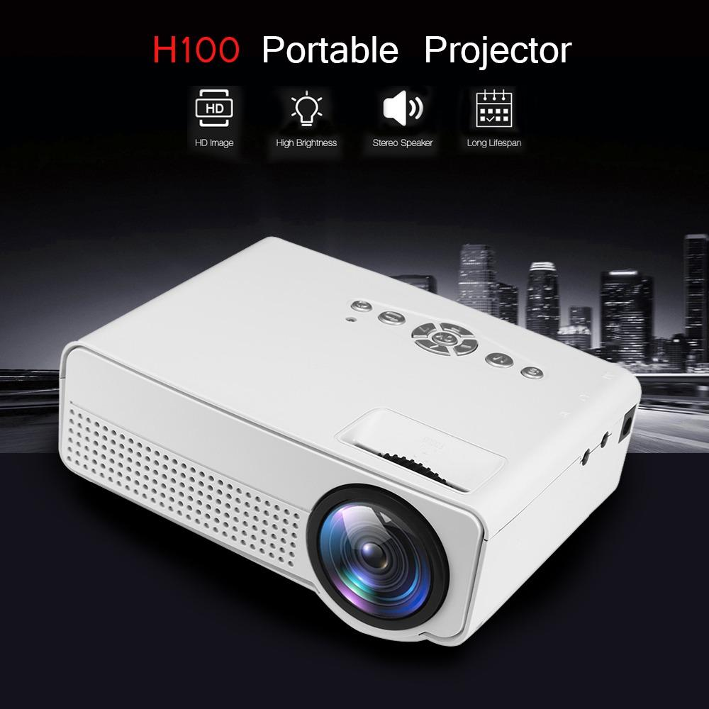 Portable Proyektor Home Theater H100 LED 2000 Lumens 800 x 480P Support 1080P