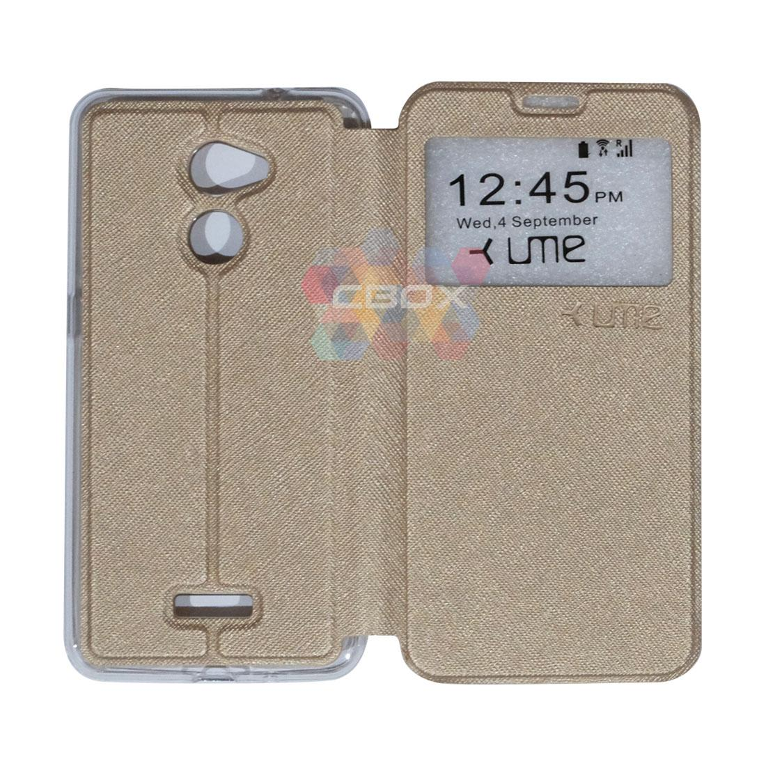 Ume Flip Leather Phone Cover Coolpad Fancy 3 E503 Ukuran 5.0 Inch Sarung Case / Flipshell Coolpad Fancy 3 E503 / FlipCover Coolpad Fancy 3 E503 / Leather Case Coolpad Fancy 3 E503 / Sarung HP Coolpad Fancy 3 E503 View - Gold