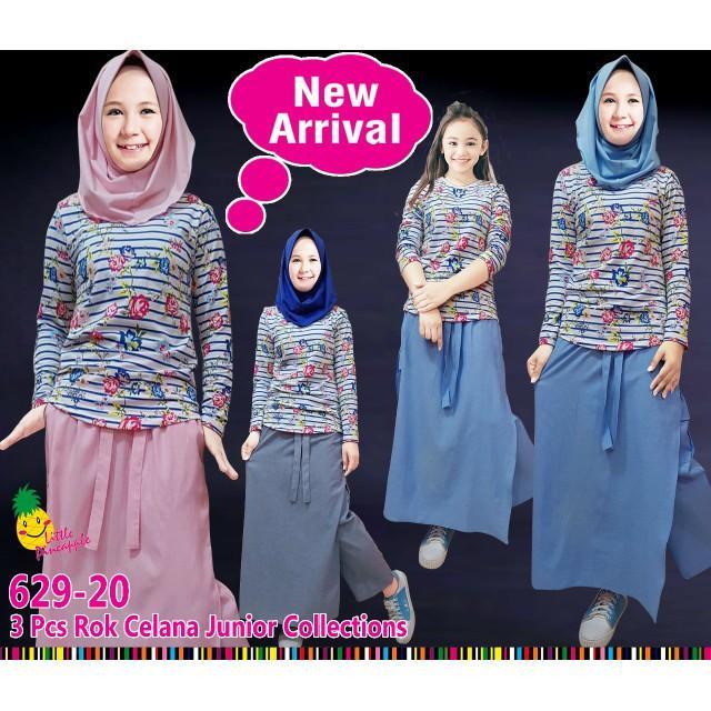 Dijual Th Baju Setelan Muslim Anak Perempuan LP Bunga Garis Celana Rok Limited