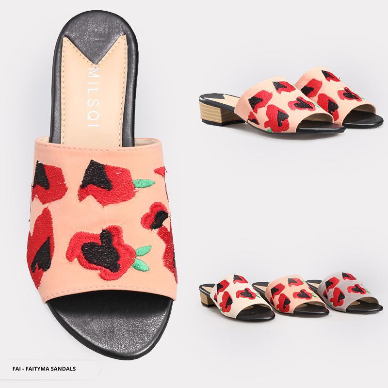 Faityma Embroideries Open-Toe Sandals - Grey