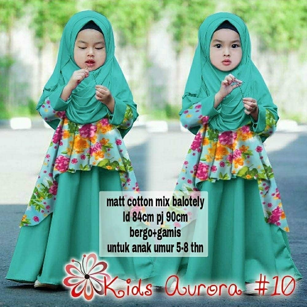 Grosir Hasanah Gamis Syari Kids Aurora - Set 2in1 Gamis Syari plus bergo Kids - Syari