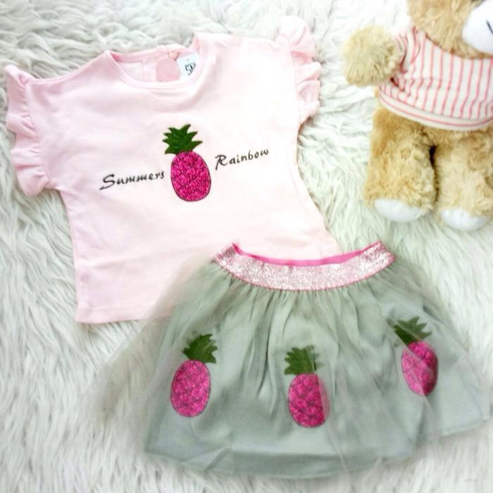 Beli Setelan Baju Rok Tile Bayi Anak Tile Pineapple Yang Bagus