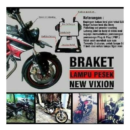 Breket Braket Lampu Pesek Yamaha New Vixion Lighting / Nvl ukuran 7inc BONUS STIKER