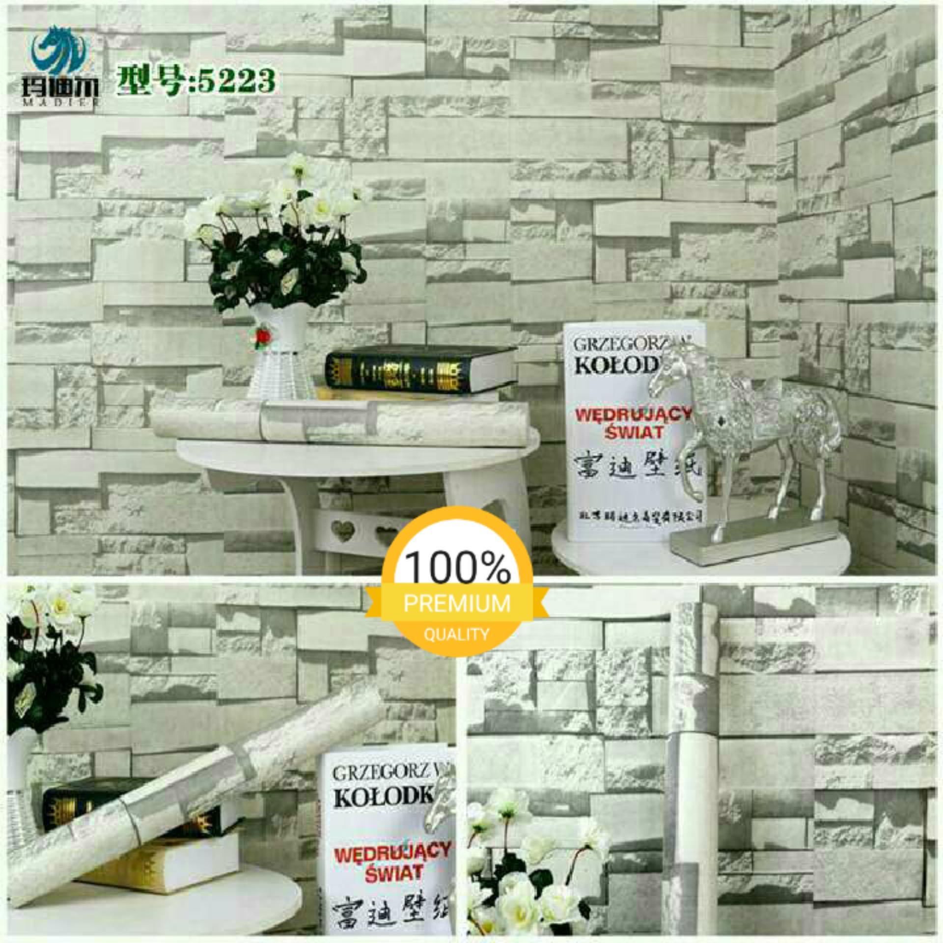 Detail Gambar Wallpaper sticker dinding murah serat elegan batu bata abu-abu 8347 Terbaru