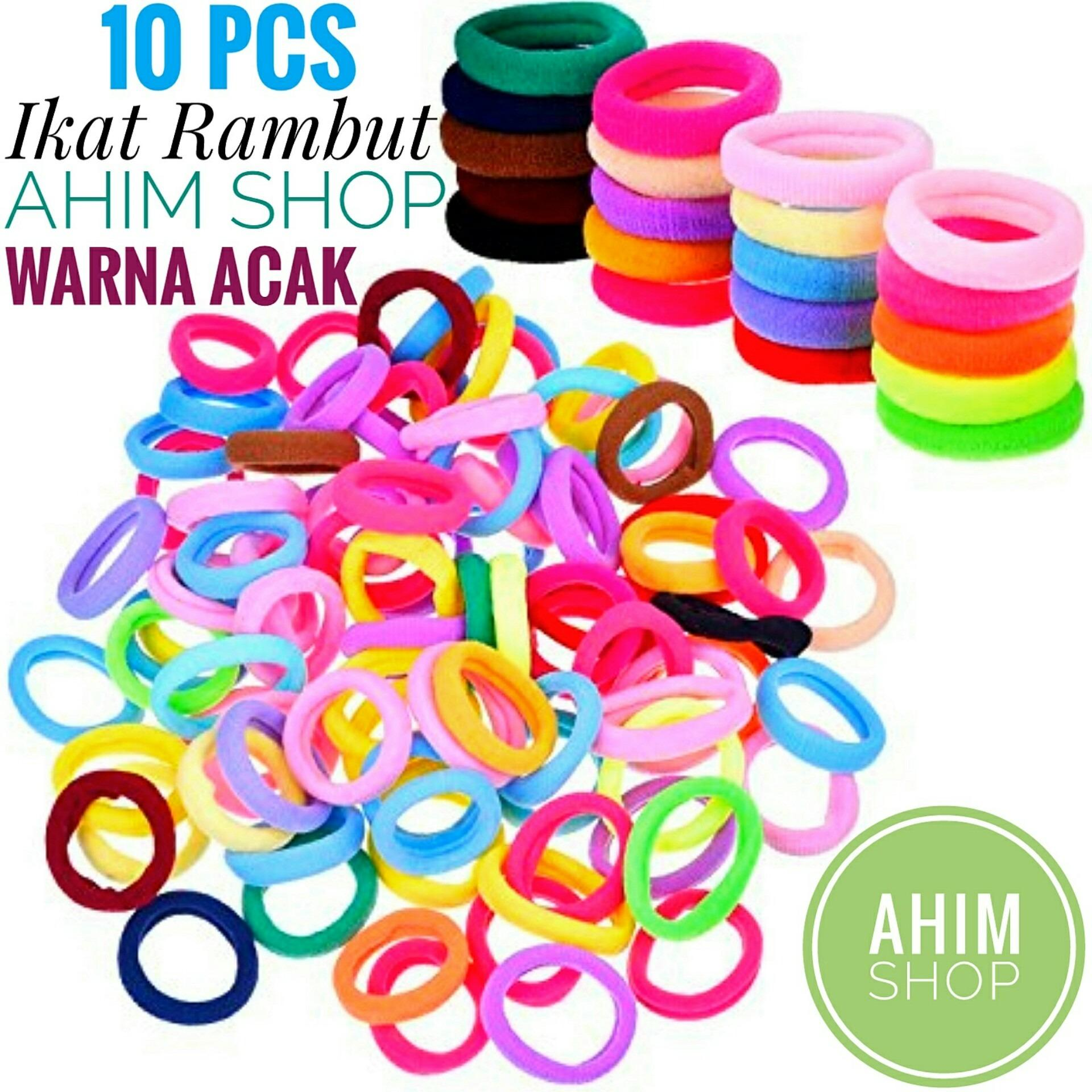 Aneka Aksesoris Rambut Jedai Ahim Shop 10 Pcs Ikat Polos Warna Warni Acak Random Color