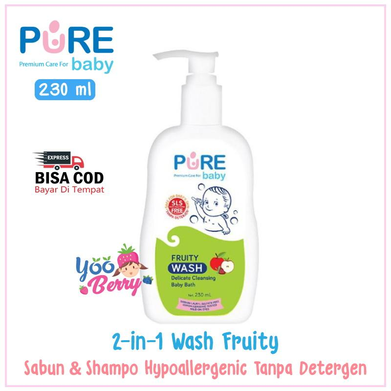 Pure Baby Wash Freshy & Fruity 230 ml Sabun & Shampo Bayi 2-in-1 YooBerry