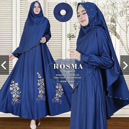 MoslemWear Gamis Syari Pesta Original Real Pic + Hijab Bergo Payet Mutiara Gamis Pesta Payet Modern