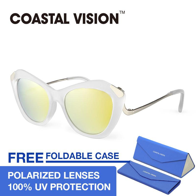 Iklan Coastal Vision Kacamata Polarized Wanita Putih Cat Eye Lensa Anti Uva B Cvs5815