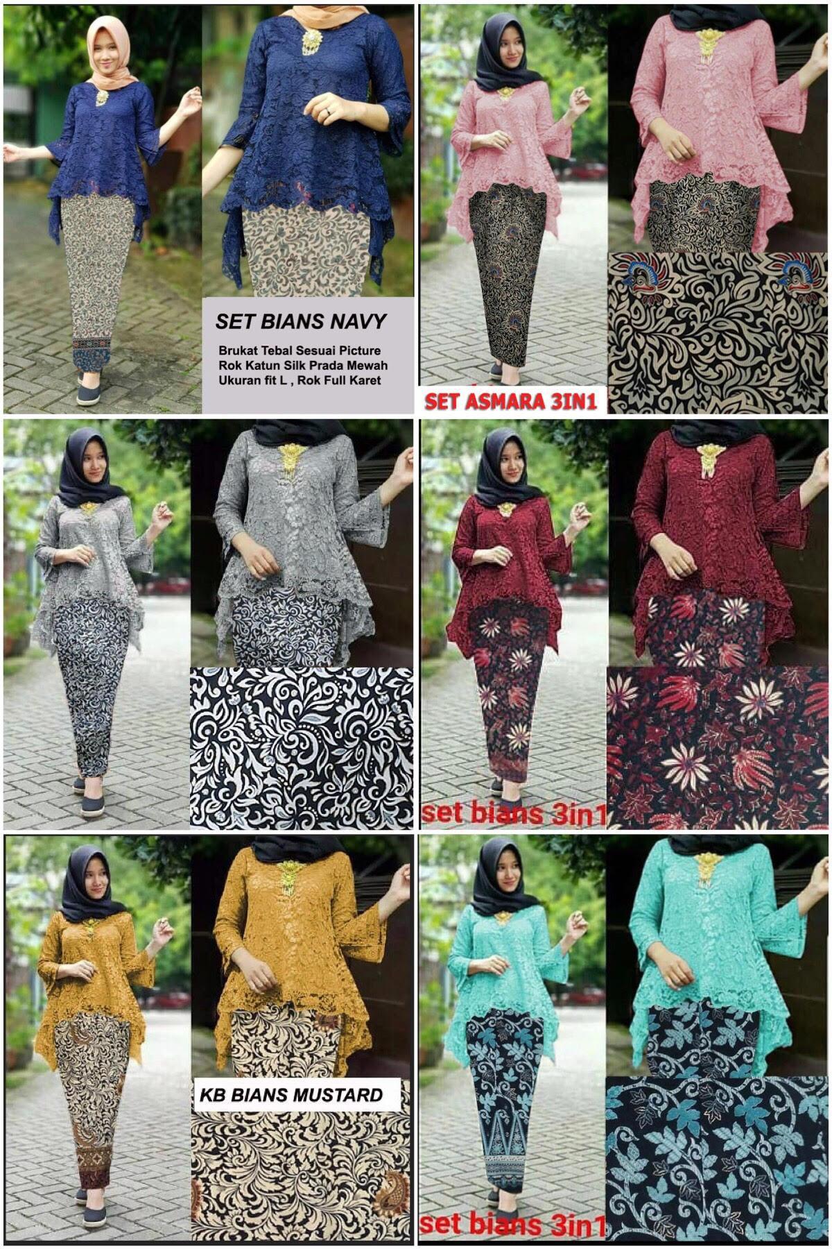 Detail Gambar Set Asmara Bians 5 WARNA Harga Produksi Termurah 1 set dgn Rok Batik Mengkilat Terkini