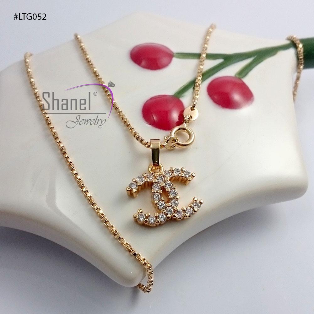 Xuping Jewelry Liontin CHANEL set kalung perhiasan fashion wanita kalung import korea LTG052