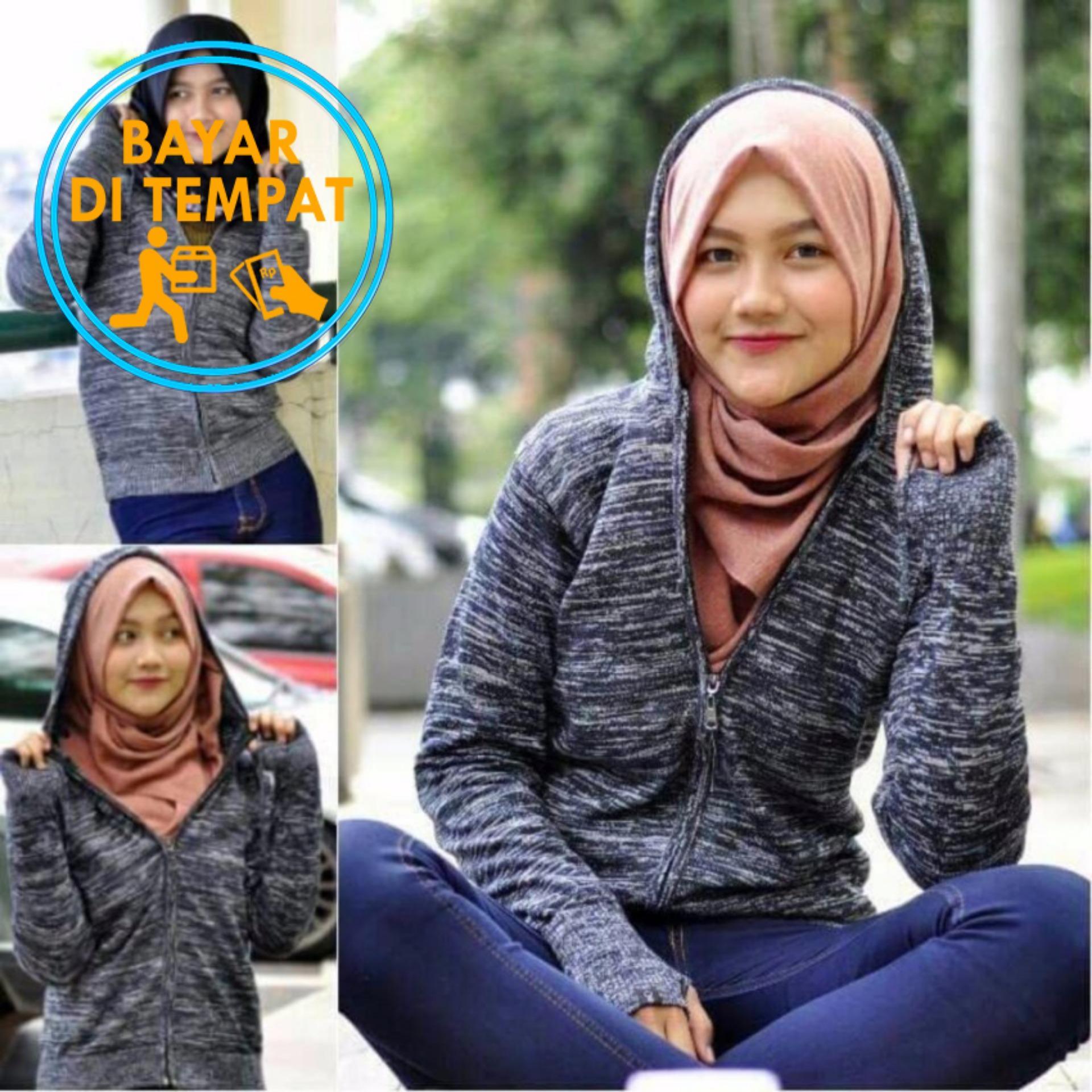 Ulasan Sweater Rajut Round Hand Wanita Grey Twotone Jempol Bolong