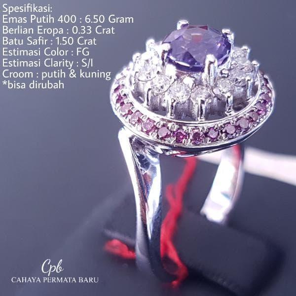 Cincin Emas400 6.50 Gram Berlian Eropa 0.30 Crat Fashion Murah Meriah