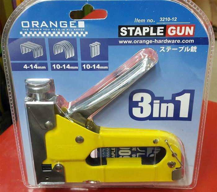 3 in 1 ORANGE Stapler Gun / Tembak Gun Tacker 4mm s/d 14mm