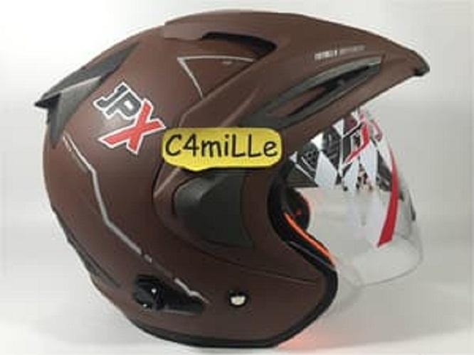 Detail Gambar Helm JPX Supreme Double visor Brown Doff / dop Terbaru