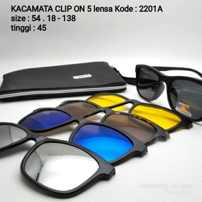 kacamata clip on 5 lensa K-2201A frame kacamata pria wanita Polarized 70ed6a8bf8
