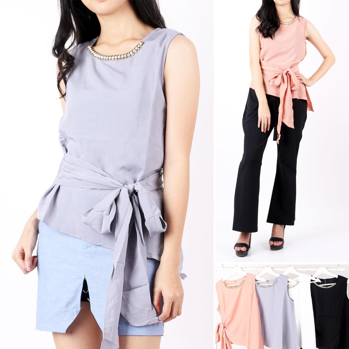 oma Holley fashion blouse Casual Sleeveless Ikat Pinggang - 5 Warna - Size M