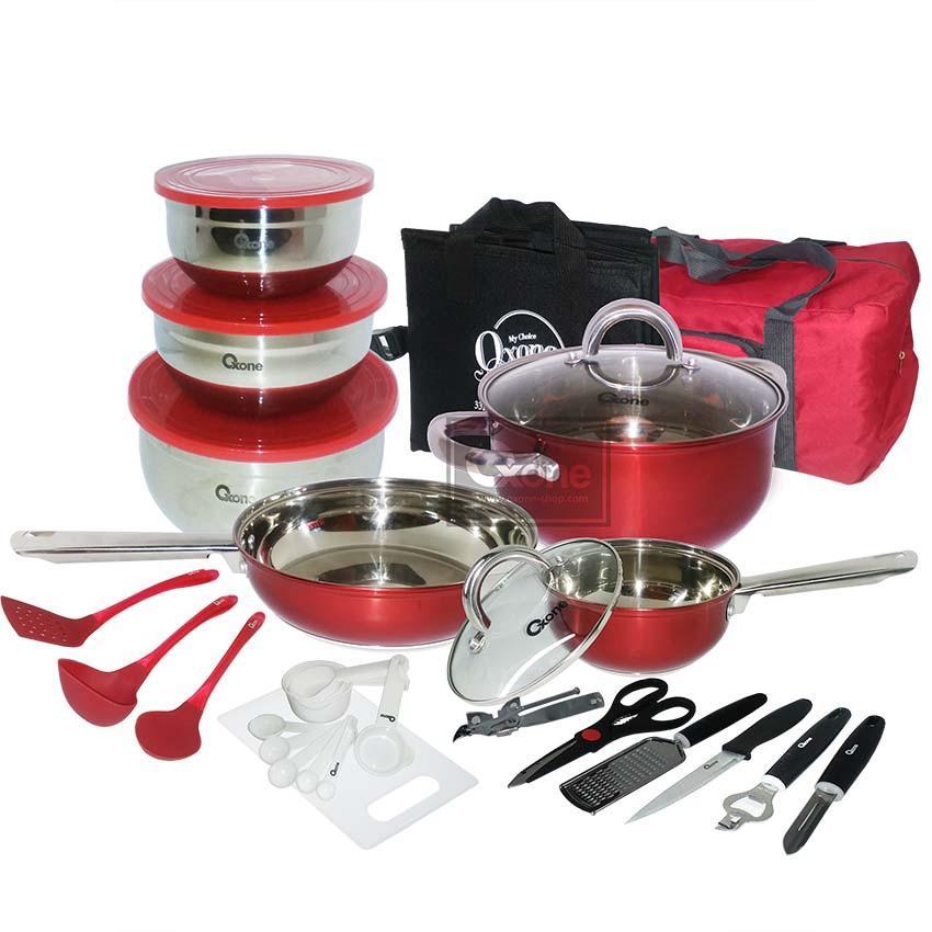 Graha FE Set Panci + Wajan Stainless Steel + Perlengkapan Masak Cocok Buat Travelling - 33 pcs Travel Cookware Set Oxone OX-993