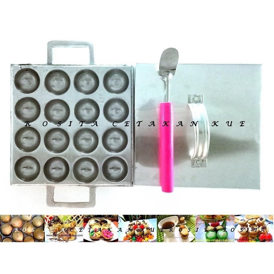 Rosita Cetakan Kue Takoyaki Lumpur Matabak Super Mini Cubit 3,5Cm Isi 16 Tyk Dan Tutup Gratis Sutil Kue