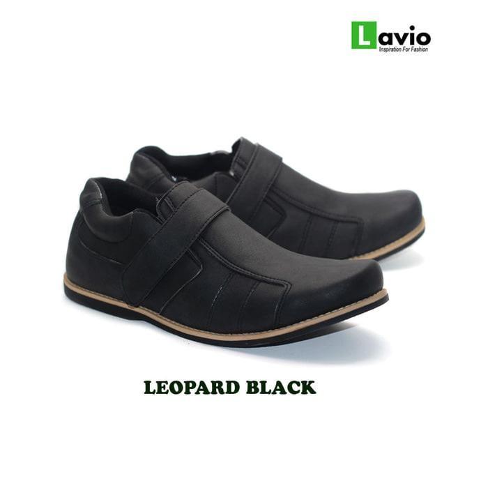 Sepatu Sneakers Casual Pria Lavio Leopard Hitam Original