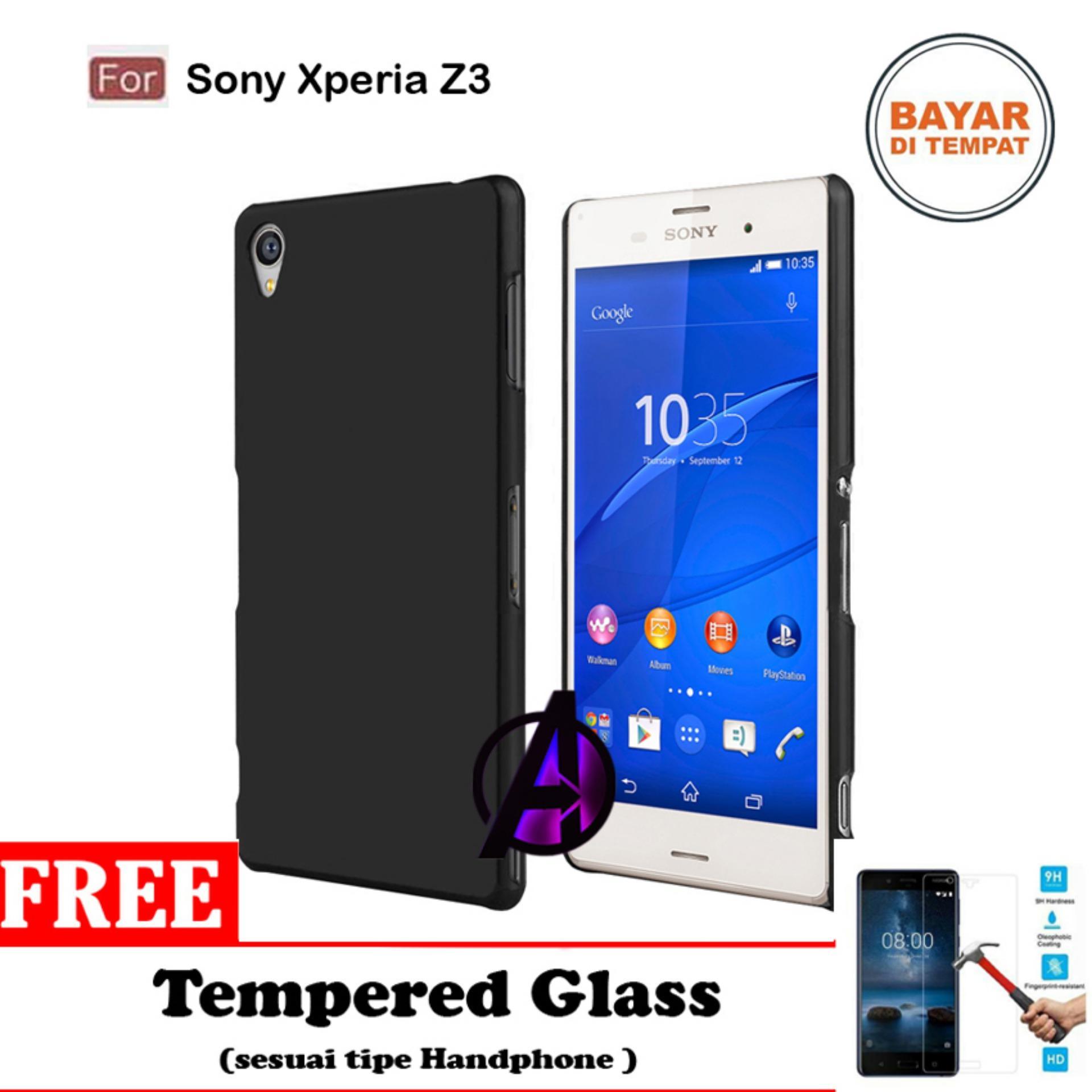 Case Matte Black Soft Slim Casing Handphone Sony Xperia Z3 - Free Tempered Glass