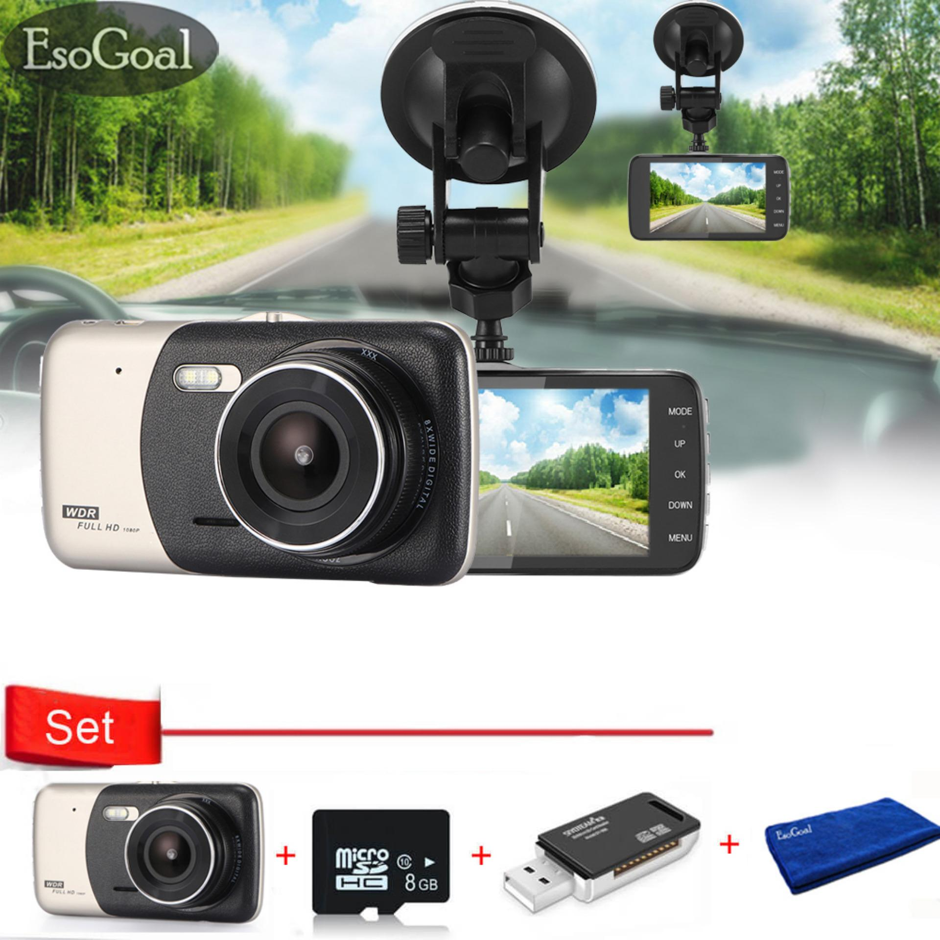 Beli Esogoal 4 Dash Cam Front And Rear Dual Lens Camera Night Vision 1080P 140 Car Dvr Video Recorder G Sensor Vehicle Camera And Micro C 10 8G Memory Card And Usb 2 Sd Card Reader Kredit