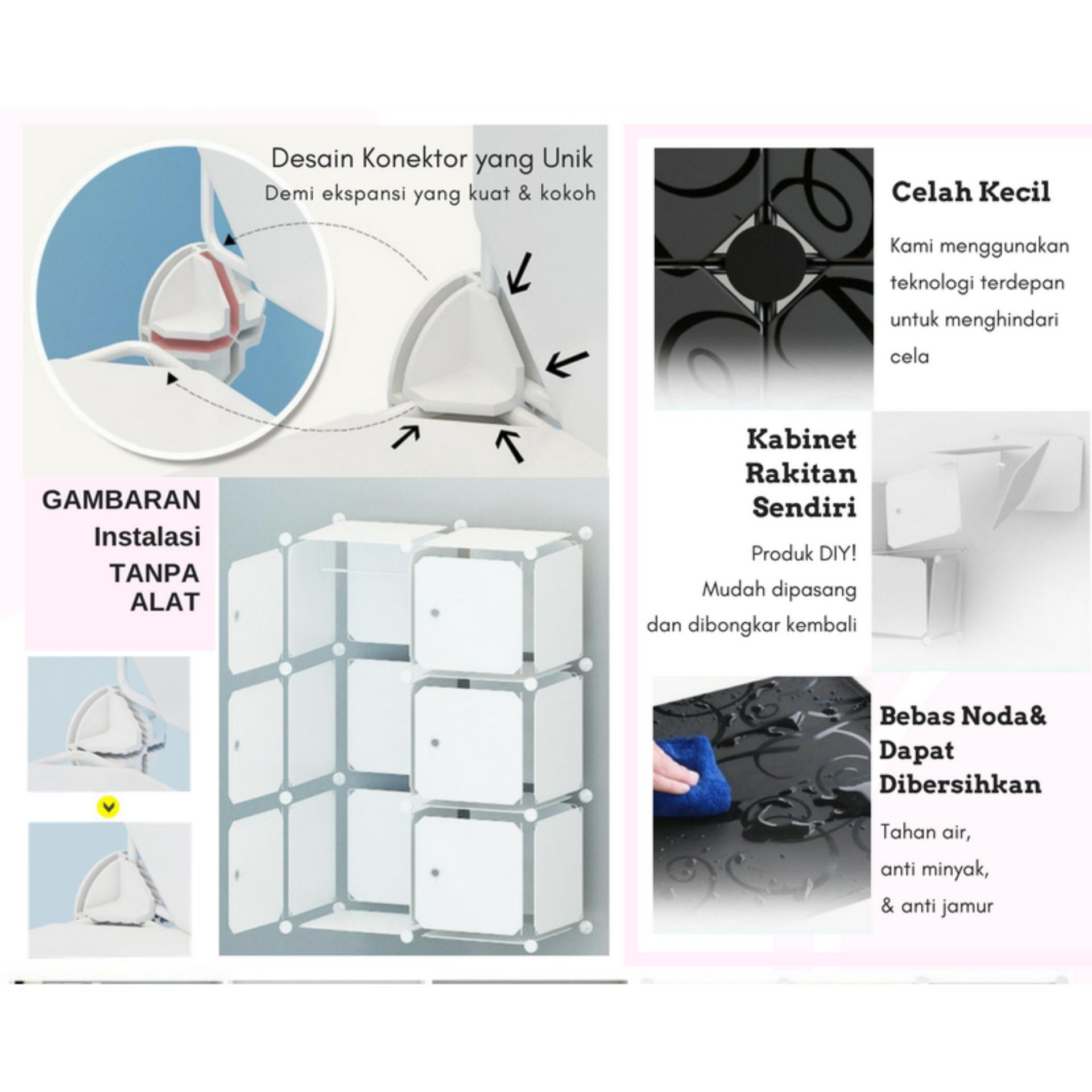 [Original] Tupper Cabinet DIY 12 Pintu Lemari Modern Korean Desain - Elegant Black - 5