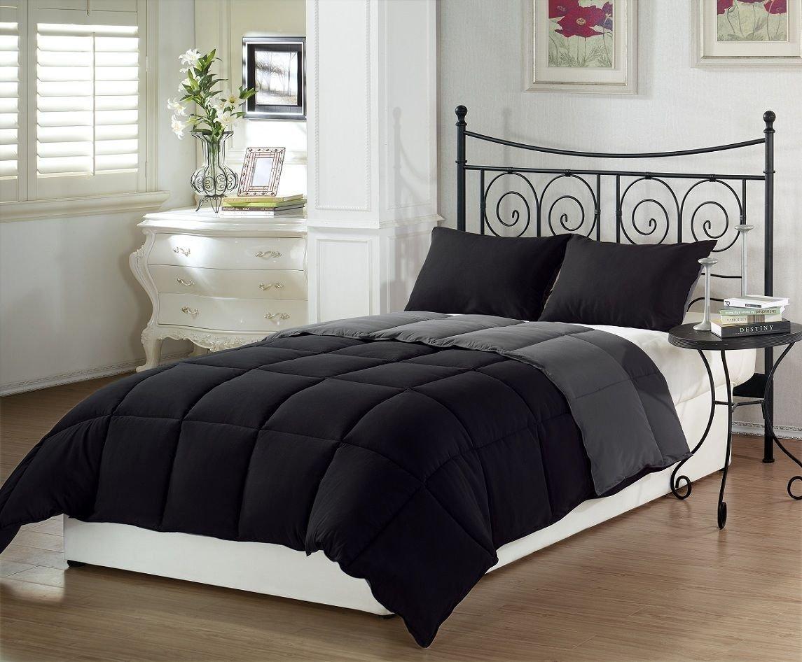 Marvelo Bedcover Set Katun Polos Hitam Abu-abu Full Silicone Filler ukuran Komplit