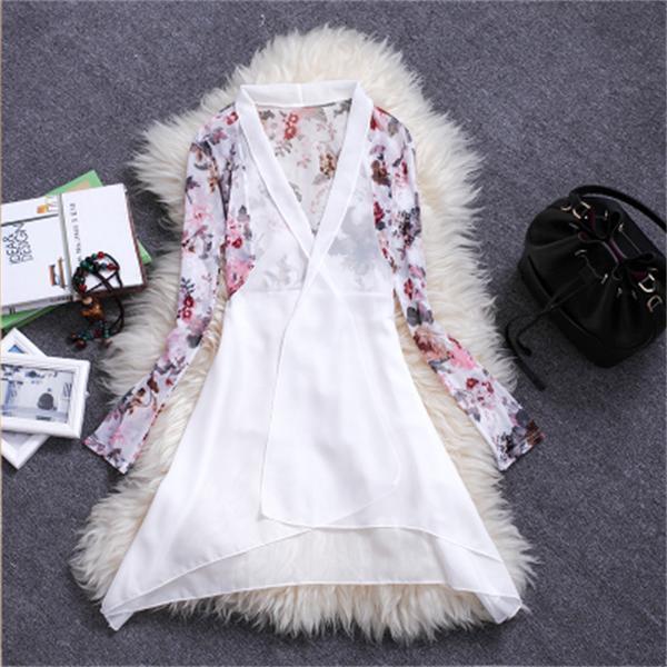 Kemeja sifon Selendang mantel tipis perempuan musim panas model pendek netral kardigan Pantai pakaian Baju pelindung