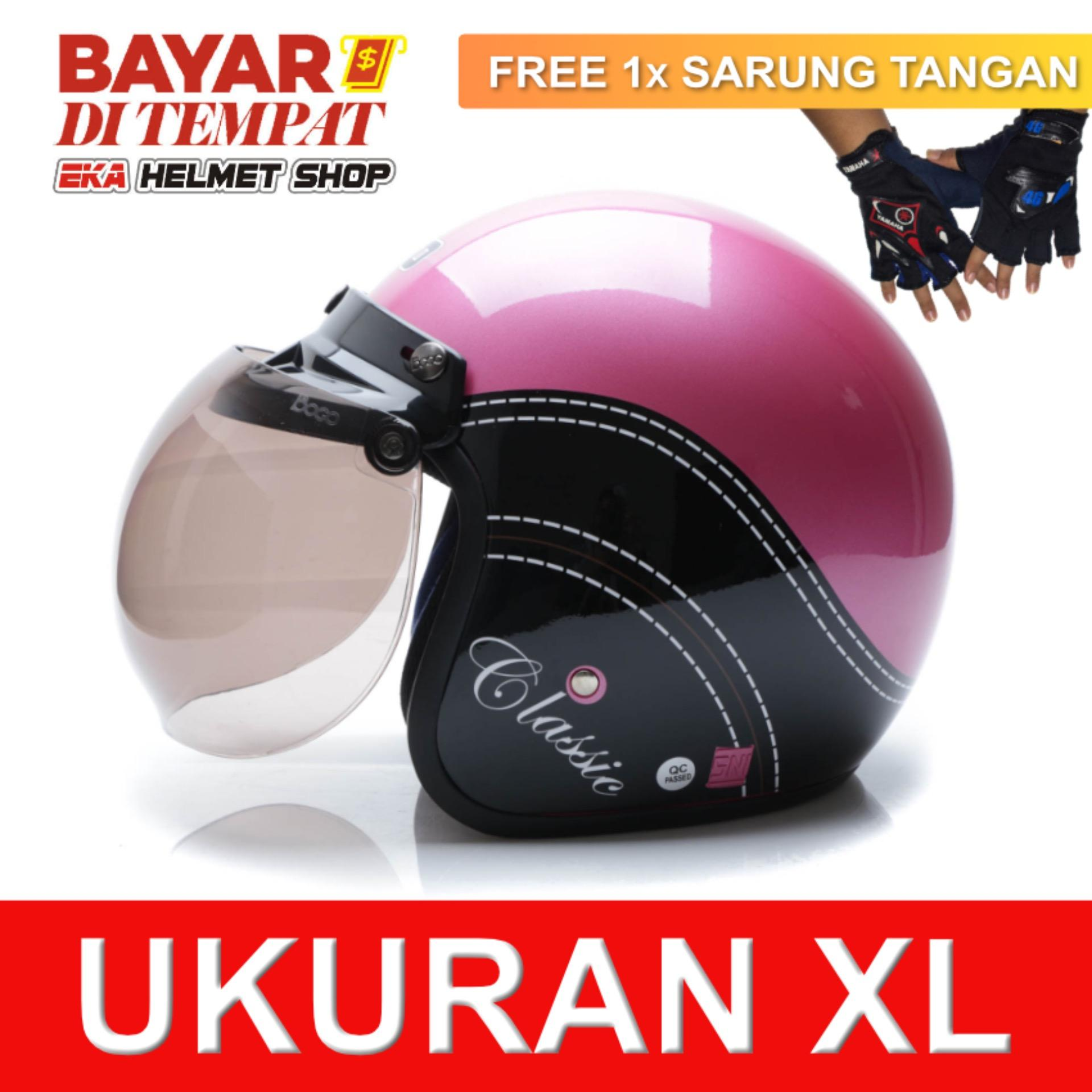 Harga Wto Helmet Retro Bogo Classic Pink Hitam Promo Gratis Sarung Tangan Wto Helmet Original