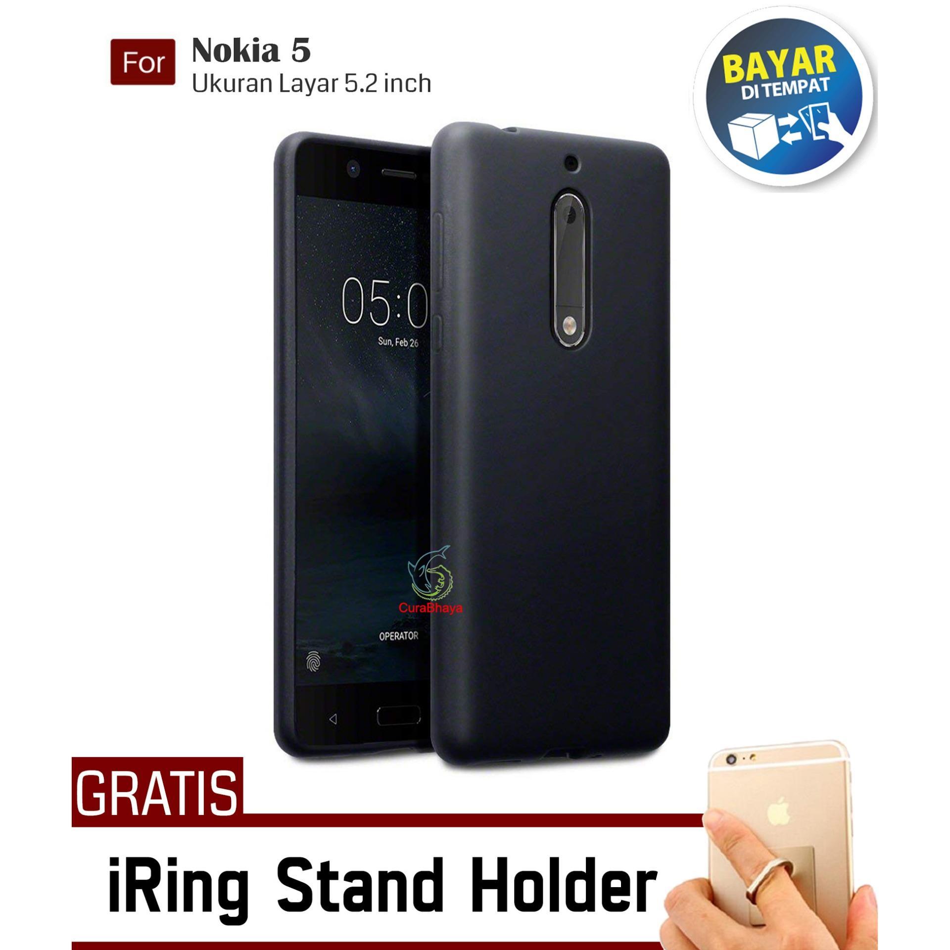 MidNight Nokia 5 | Slim Case Black Matte Softcase Premium Baby Skin + Gratis Free iRing