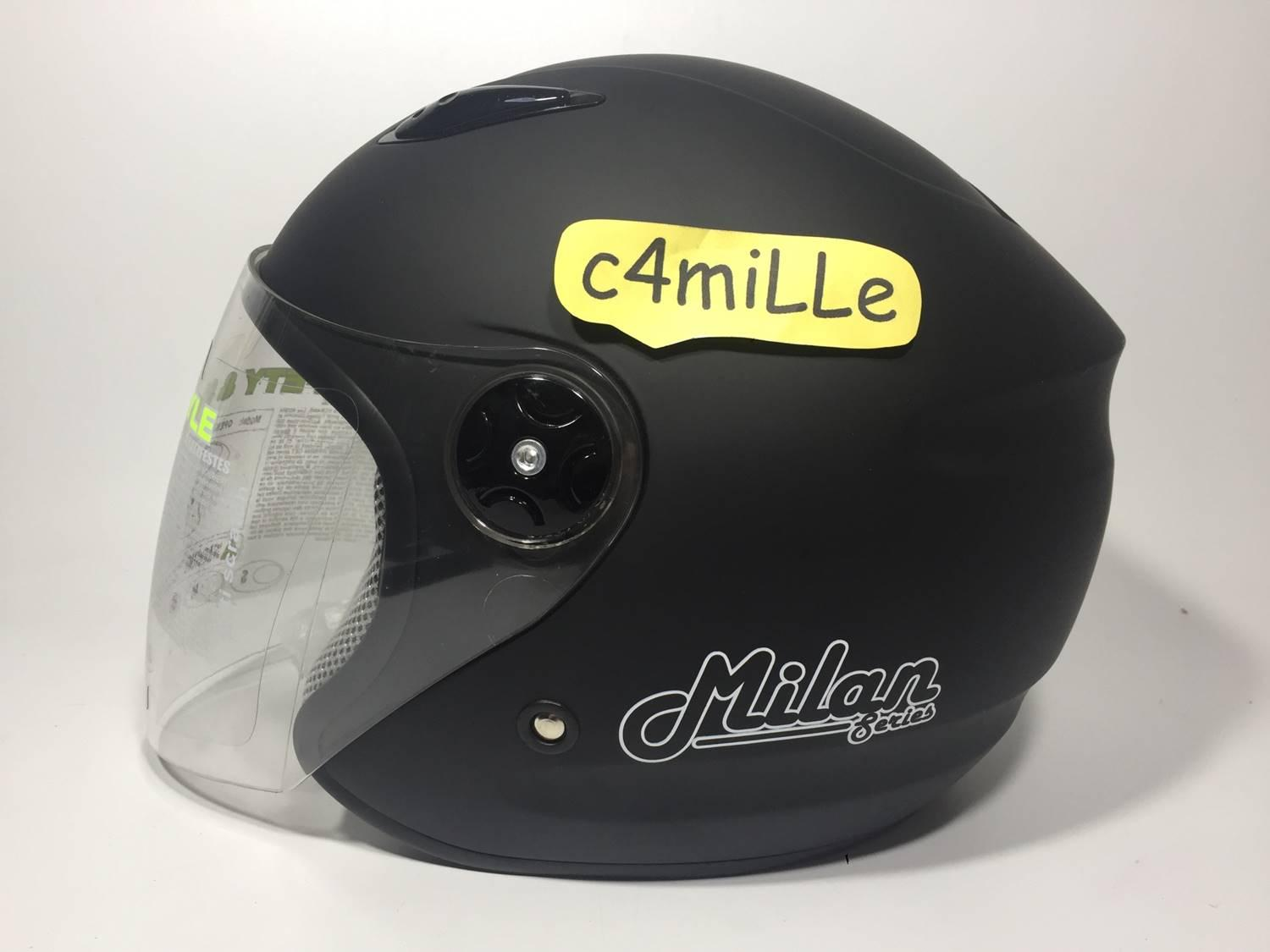 HELM BMC MILAN SOLID BLACK DOFF HALF FACE