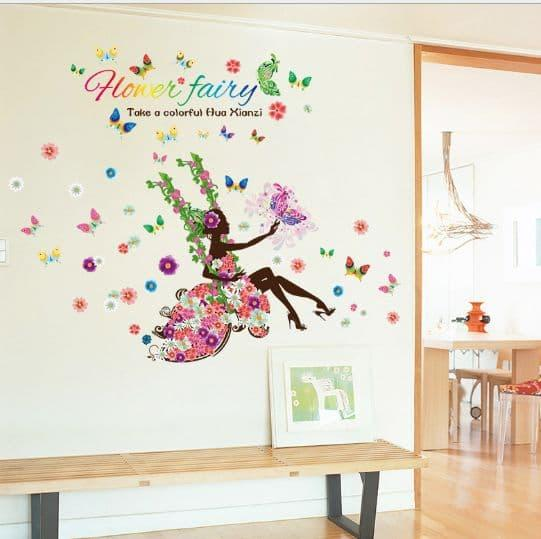 Detail Gambar Wall sticker Swing Flower Fairy SK9004 (90x60) Stiker Dinding Terbaru