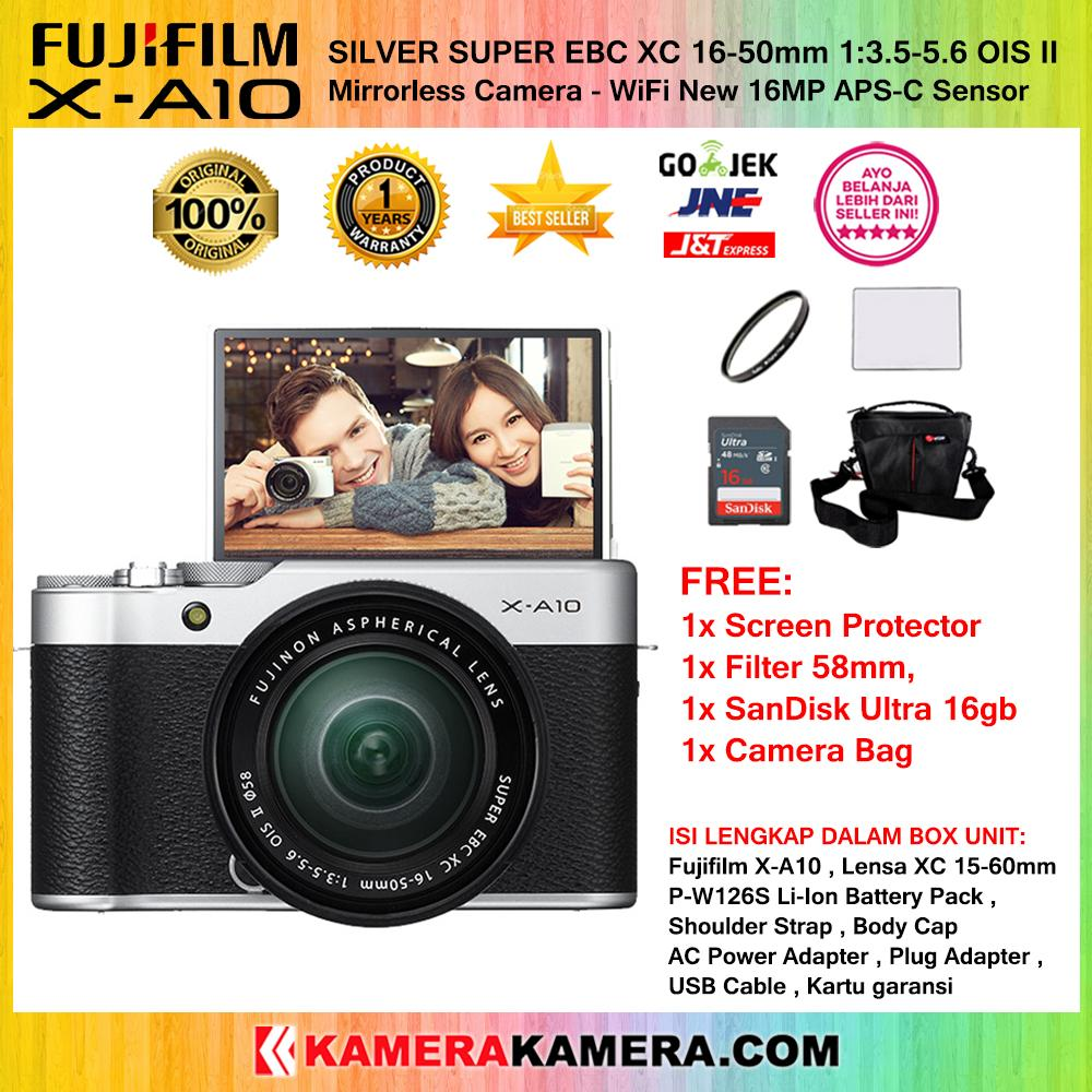 FUJIFILM X-A10 Kit XC 16-50mm OIS II WiFi 16MP Garansi 1th + Screen Guard + SanDisk Ultra 16gb + Filter 58mm + Camera Bag
